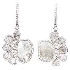 Manpriya B Slice Diamond Flower Petal 18 Karat White Gold Dangle Drop Earrings