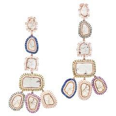 Manpriya B Slice Diamonds Fancy Coloured Sapphires Rose Gold Chandelier Earrings