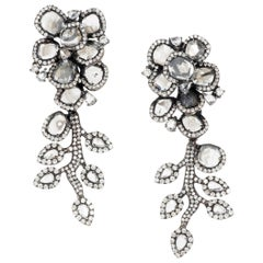 Manpriya B Slice & Rose Cut Diamond Diva Swaying Earrings in 18 Karat White Gold