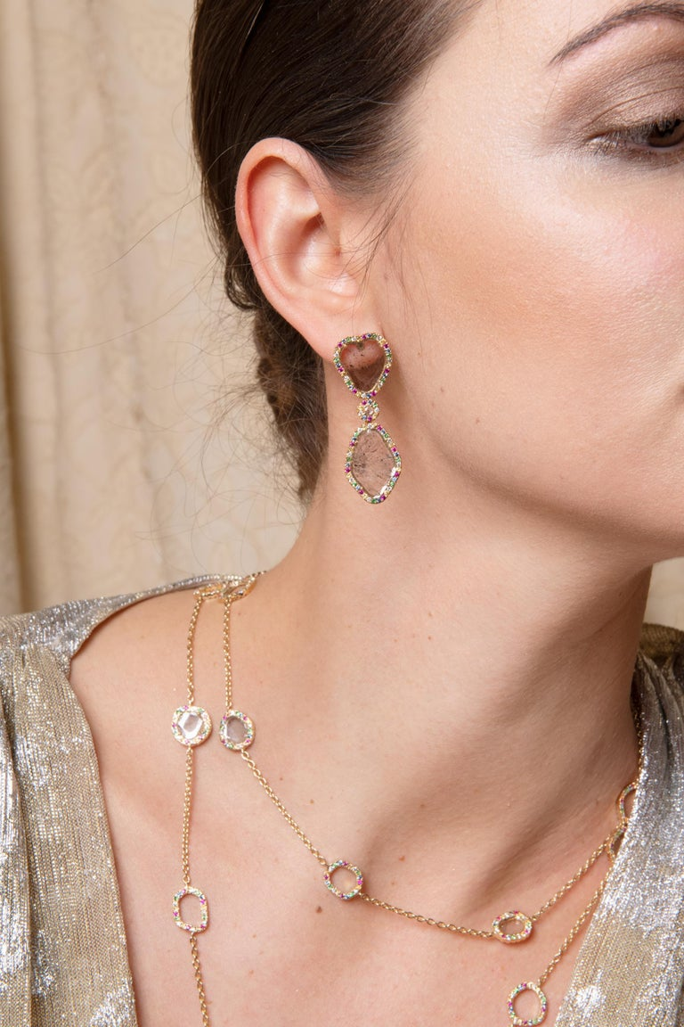 Gross weight: 27.9 grams The gold weight is 25.85 grams. The total diamond weight in the piece is 4.75 carats. Multi colour stone weight is 5.47 carats.   Matching earrings available   Exquisite craftsmanship and stylish sophistication make this