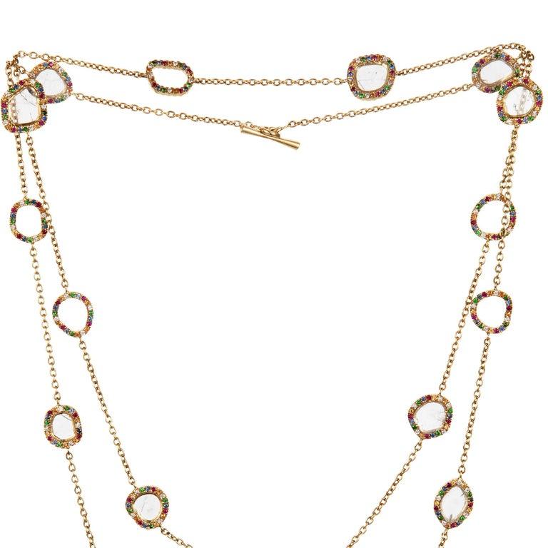 Women's or Men's Slice Diamond, Ruby, Coloured Sapphires & Tsavorite Diva Necklace Manpriya B For Sale