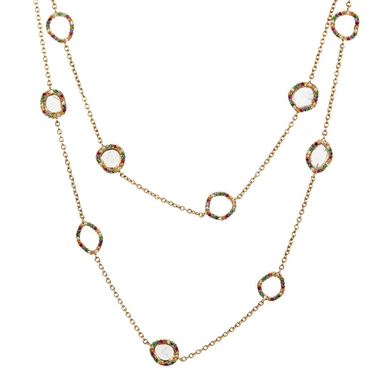 Slice Diamond, Ruby, Coloured Sapphires & Tsavorite Diva Necklace Manpriya B For Sale 1