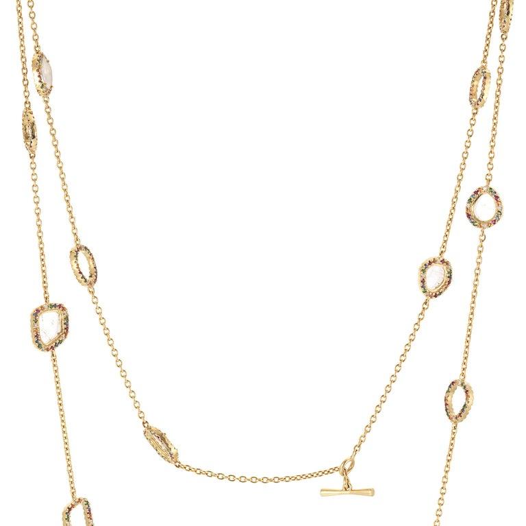 Slice Diamond, Ruby, Coloured Sapphires & Tsavorite Diva Necklace Manpriya B For Sale 2