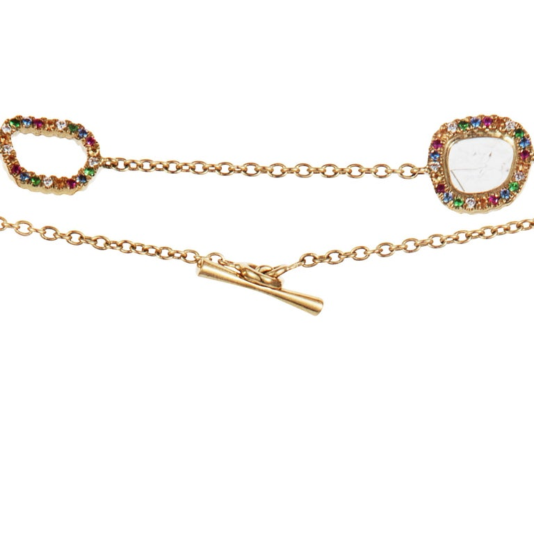 Slice Diamond, Ruby, Coloured Sapphires & Tsavorite Diva Necklace Manpriya B For Sale 3