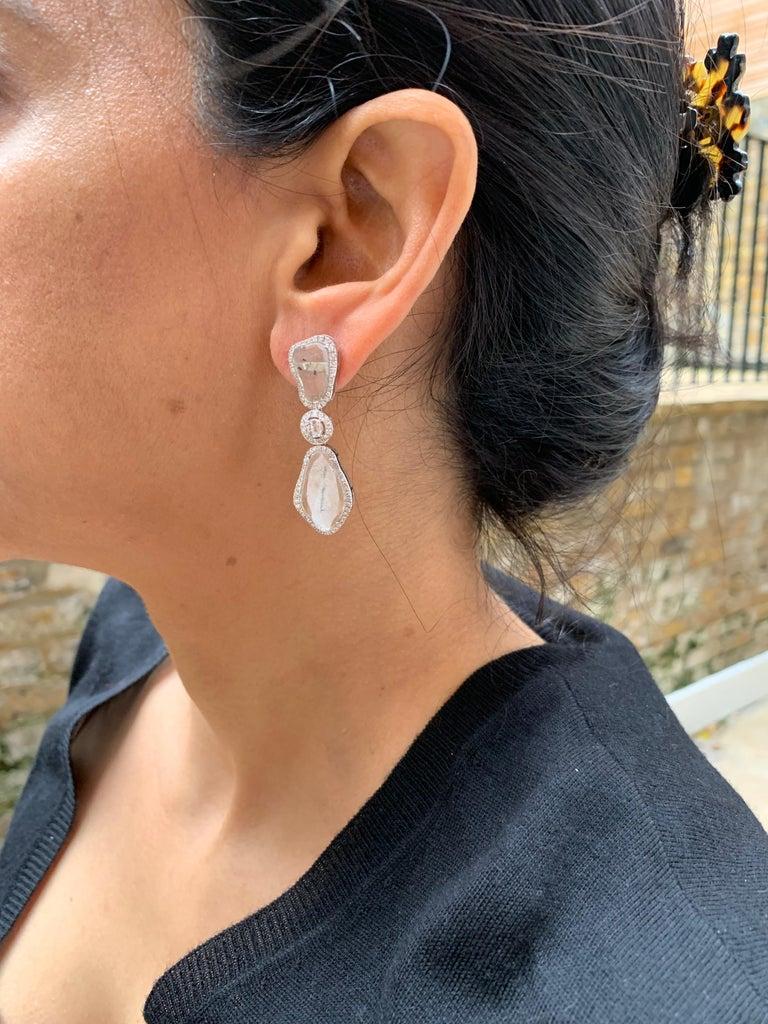 Manpriya B Triple Slice Diamond Drop Diva Earrings in 18 Karat White Gold For Sale 4