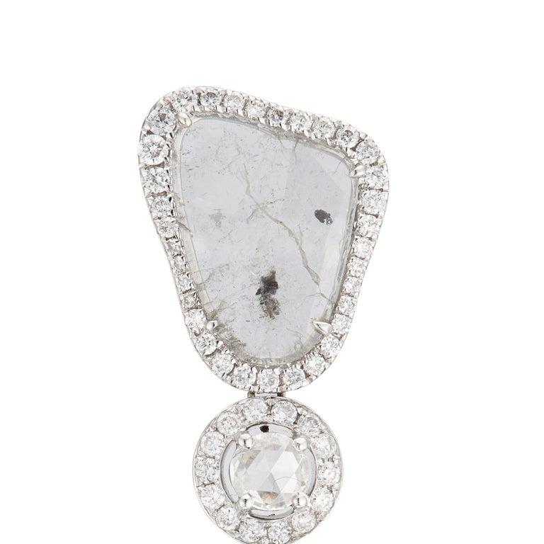 Round Cut Manpriya B Triple Slice Diamond Drop Diva Earrings in 18 Karat White Gold For Sale