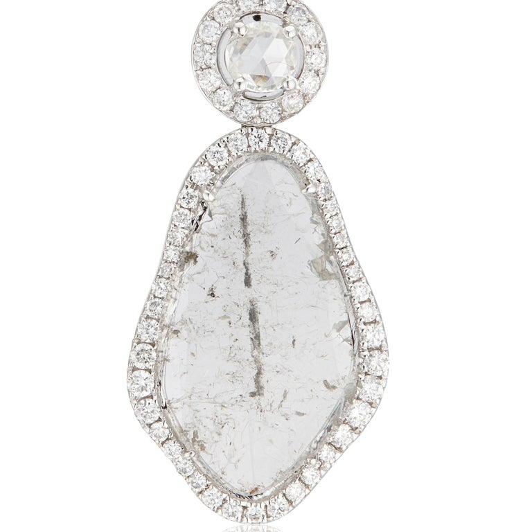 Manpriya B Triple Slice Diamond Drop Diva Earrings in 18 Karat White Gold In New Condition For Sale In London, GB