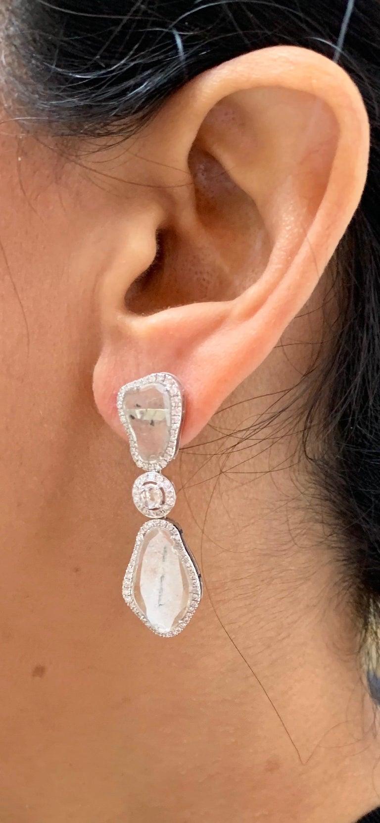 Women's or Men's Manpriya B Triple Slice Diamond Drop Diva Earrings in 18 Karat White Gold For Sale