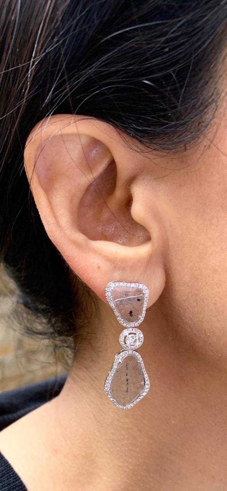 Manpriya B Triple Slice Diamond Drop Diva Earrings in 18 Karat White Gold For Sale 1