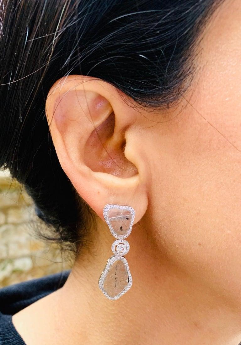 Manpriya B Triple Slice Diamond Drop Diva Earrings in 18 Karat White Gold For Sale 2