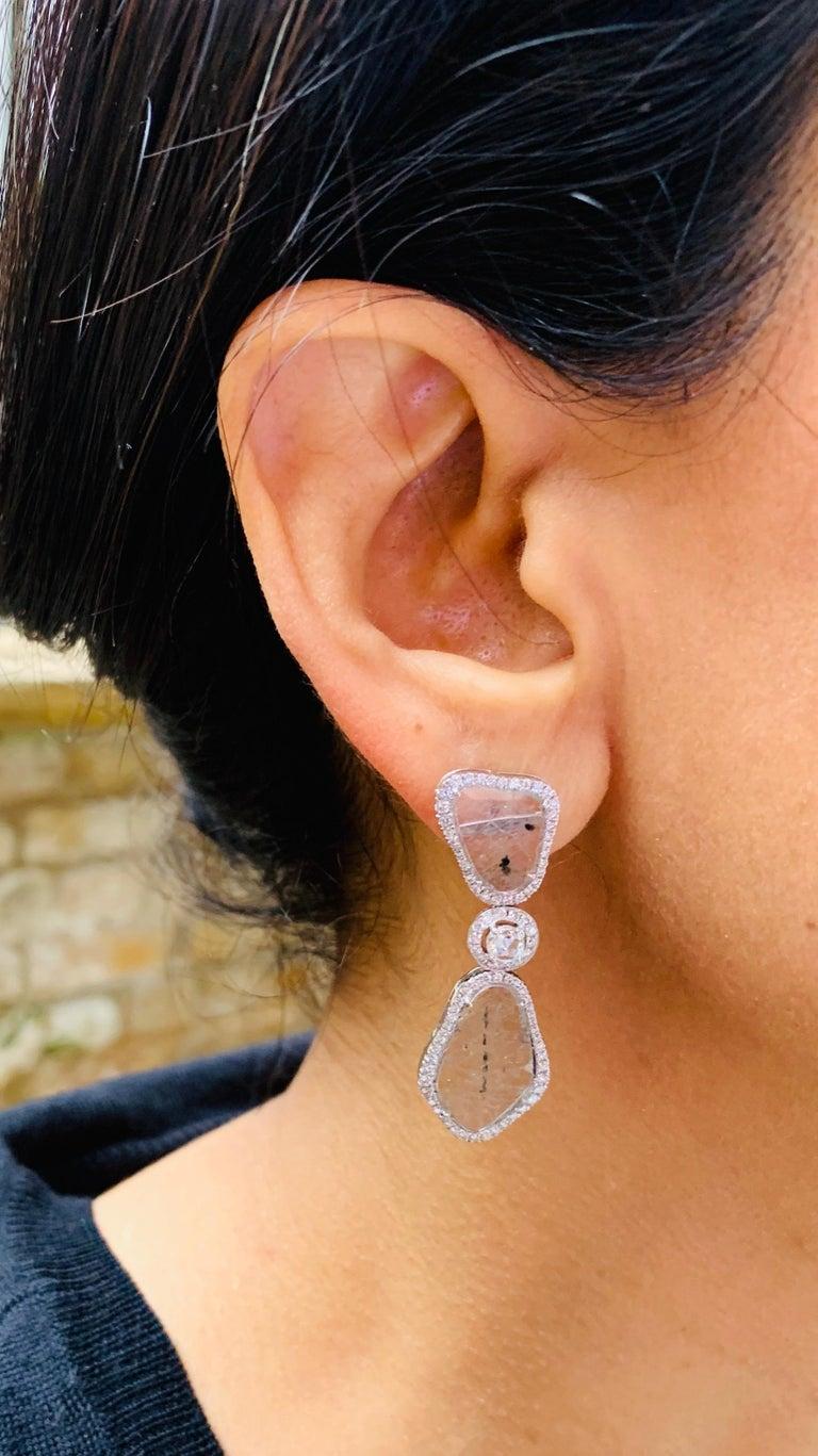 Manpriya B Triple Slice Diamond Drop Diva Earrings in 18 Karat White Gold For Sale 3
