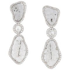 Manpriya B Triple Slice Diamant-Diva Ohrringe in 18 Karat Weißgold