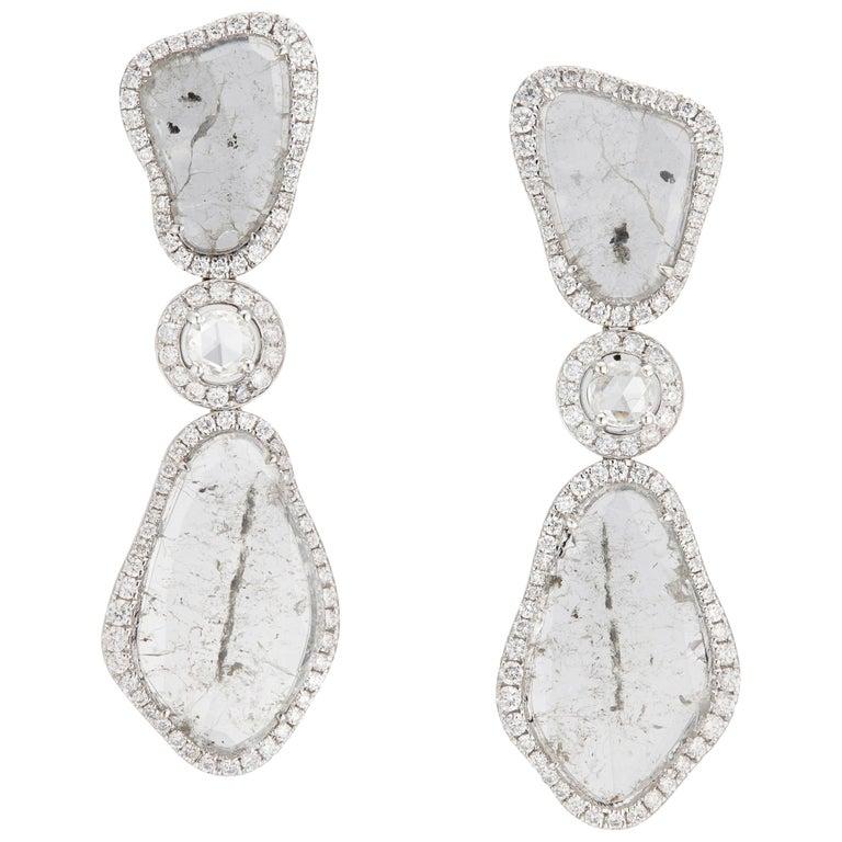 Manpriya B Triple Slice Diamond Drop Diva Earrings in 18 Karat White Gold For Sale