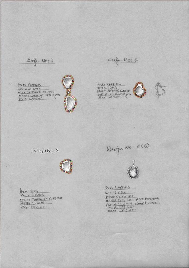 Manpriya B Slice Diamond Ruby, Coloured Sapphire & Tsavorite Diva Drop Earrings  For Sale 1