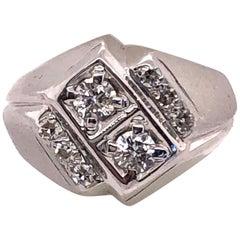 Man's 14 Karat White Gold and Diamond Ring