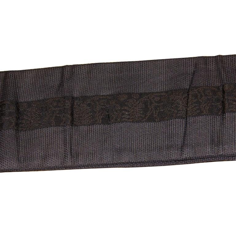 Japanese Man's Black Silk Obi For Sale