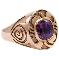 Mens Vintage Heavy Rose Gold Amethyst Solitaire Ring UK Hallmarked