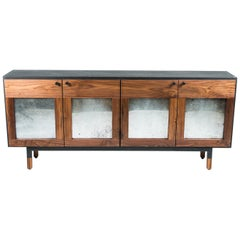 Mansfield Credenza, by Ambrozia, Walnut, Antique Mirror, Ebonized Oak & Steel