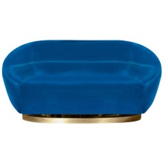Mansfield Sofa in Blue Velvet with Brass Base