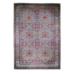 Mansion Size Antique Persian Lavar Kerman, Soft with Full Pile Hand Knotted