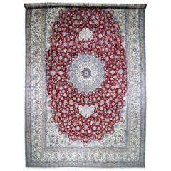 Mansion Size Wool and Silk 250 KPSI Persian Nain Hand Knotted Oriental Rug