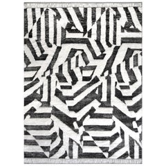Mansour Modern Steel Grey and White Moroccan Rug