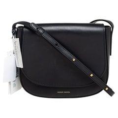 Mansur Gavriel Black Leather Mini Flap Crossbody Bag