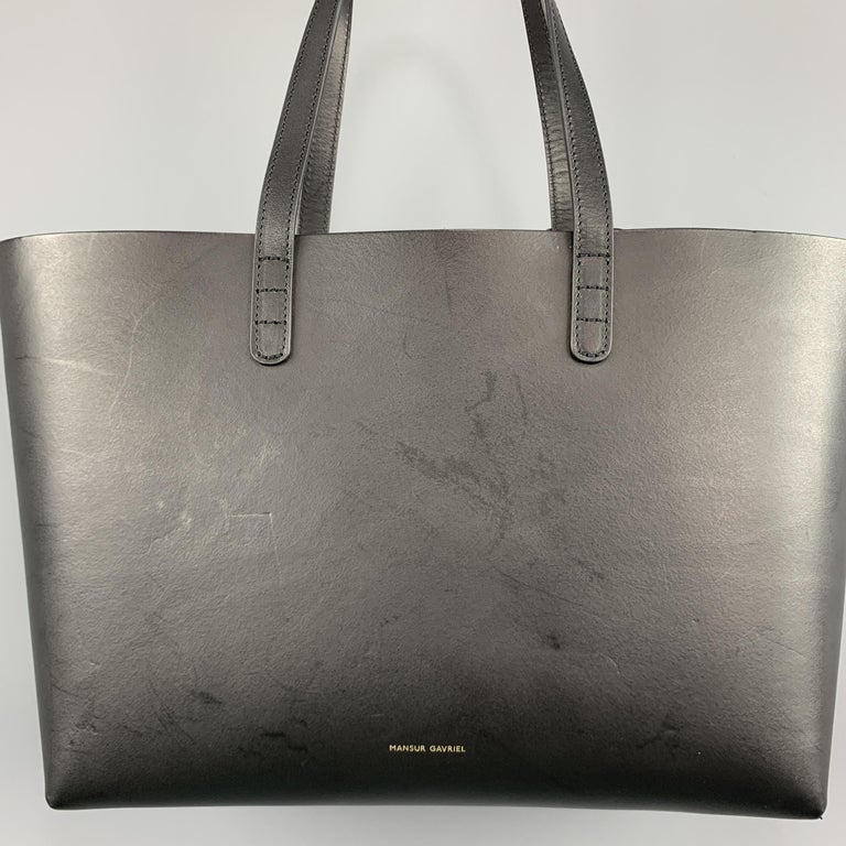 MANSUR GAVRIEL Black Leather Red Interior Tote Bag In Good Condition For Sale In San Francisco, CA