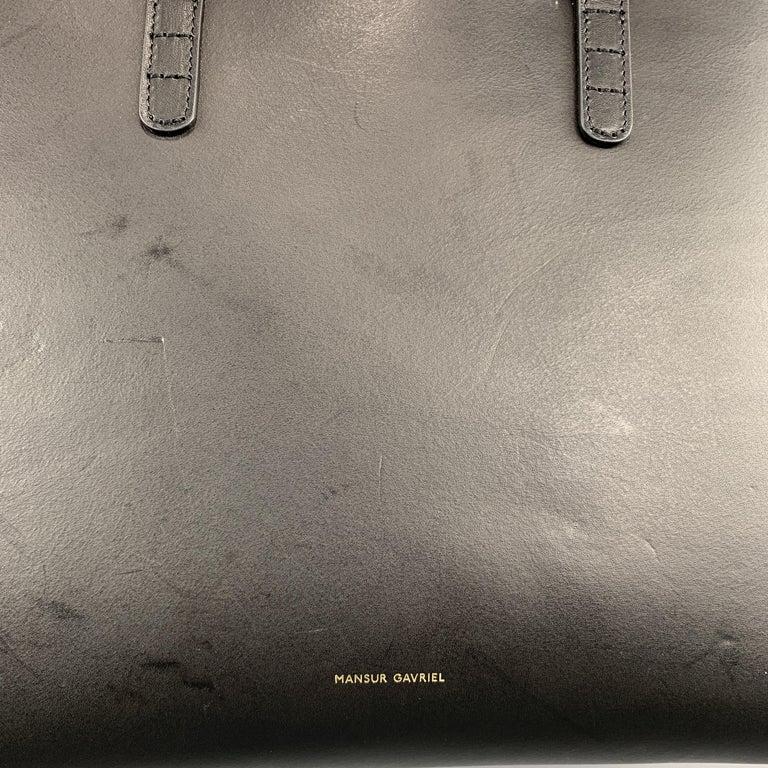 Women's or Men's MANSUR GAVRIEL Black Leather Red Interior Tote Bag For Sale