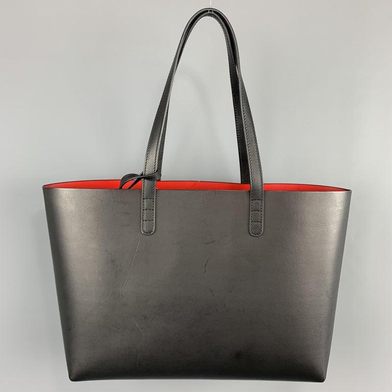 MANSUR GAVRIEL Black Leather Red Interior Tote Bag For Sale 1
