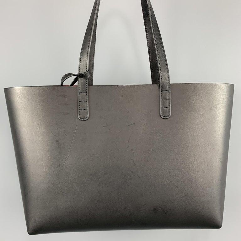 MANSUR GAVRIEL Black Leather Red Interior Tote Bag For Sale 2