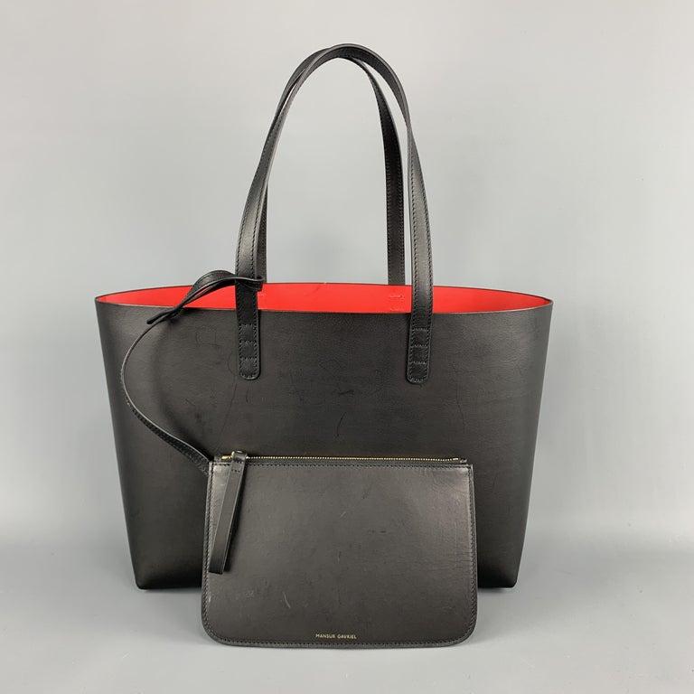 MANSUR GAVRIEL Black Leather Red Interior Tote Bag For Sale 3