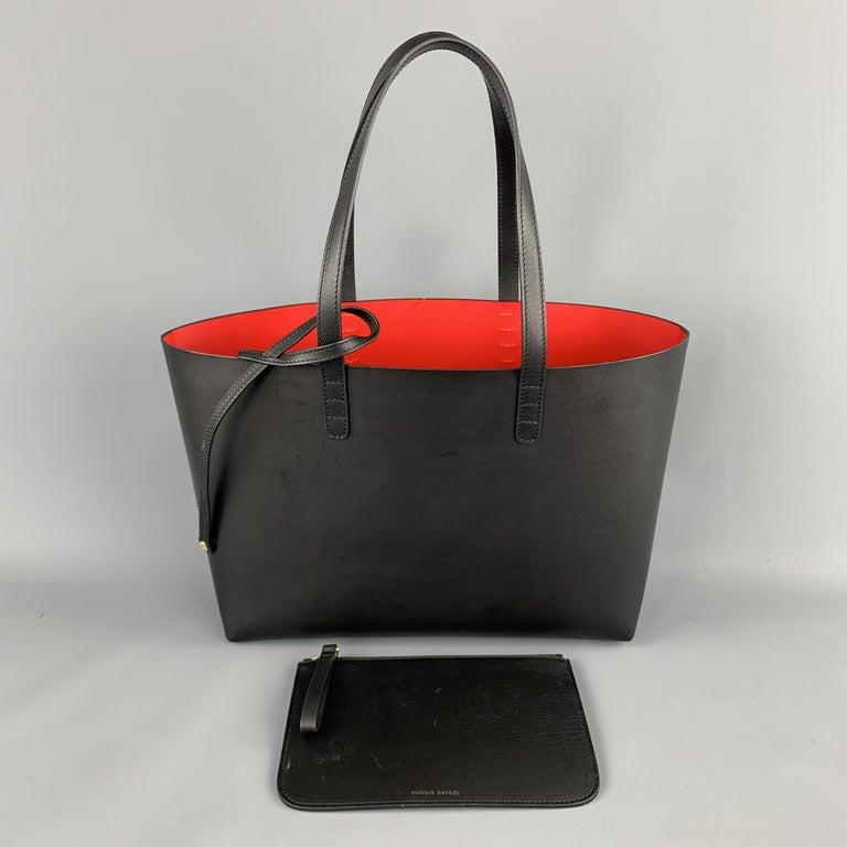 MANSUR GAVRIEL Black Leather Red Interior Tote Bag For Sale 4