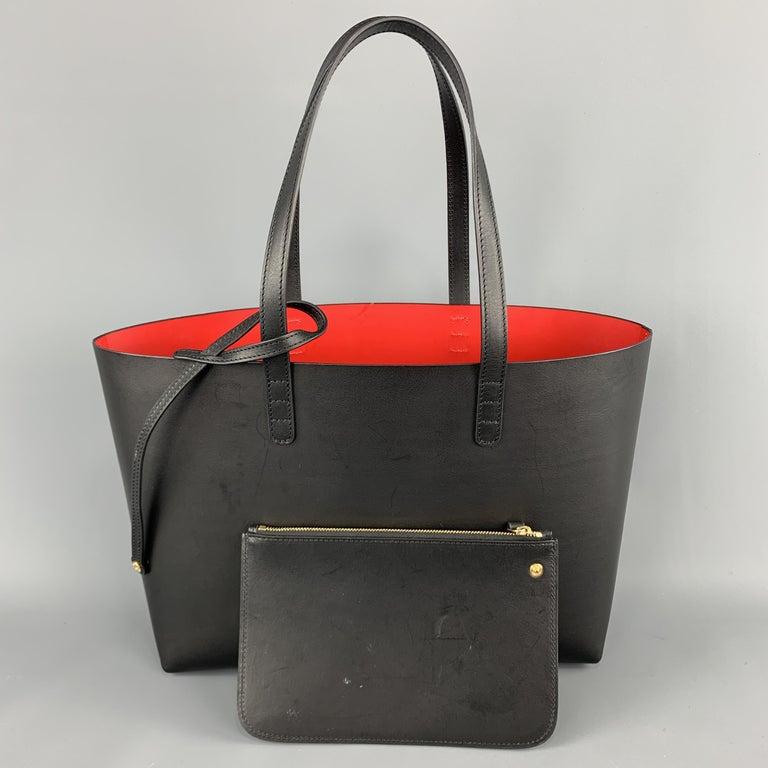 MANSUR GAVRIEL Black Leather Red Interior Tote Bag For Sale 5