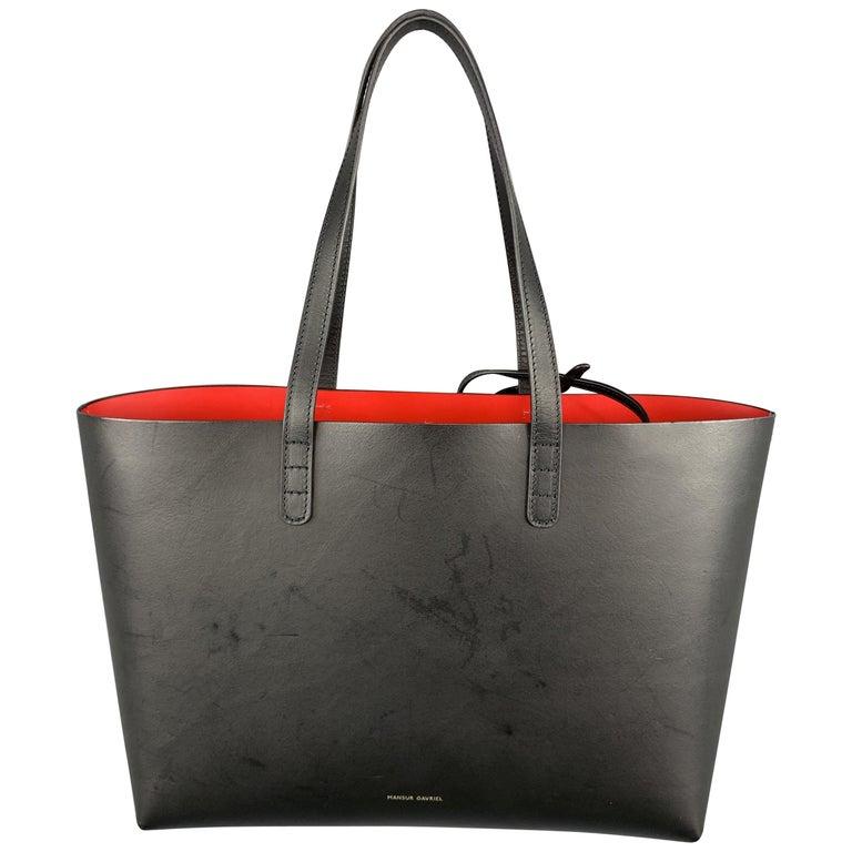MANSUR GAVRIEL Black Leather Red Interior Tote Bag For Sale