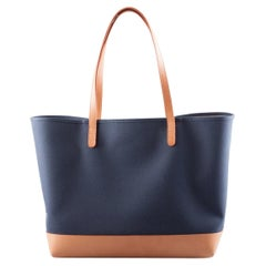 Mansur Gavriel Blue/Cream and Cammello Canvas and Leather Tote