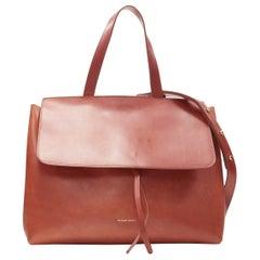 MANSUR GAVRIEL Lady cognac brown smooth leather flap shoulder satchel bag