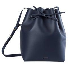 Mansur Gavriel Navy Blue Leather Bucket Bag