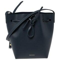 Mansur Gavriel Navy Blue Leather Drawstring Bucket Bag