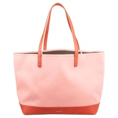 Mansur Gavriel Peach/Brown Canvas and Leather Large Tote
