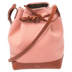 Mansur Gavriel Pink/Brown Canvas And Leather Large Bucket Bag