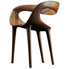 'Manta' Contemporary Dining Chair in Fumed Oak by Object Studio