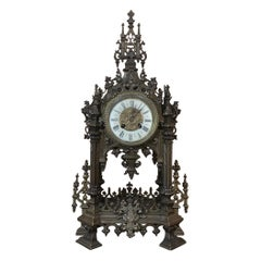 Mantel Clock, 19th Century French Gothic in Bronze
