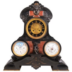 Mantel Clock, Barometer, Moon Phase and Perpetual Calendar, 19th Century