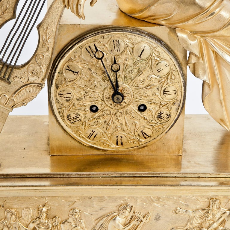 Gilt Mantel Clock, France First Quarter of the 19th Century For Sale