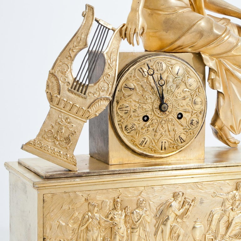 Bronze Mantel Clock, France First Quarter of the 19th Century For Sale