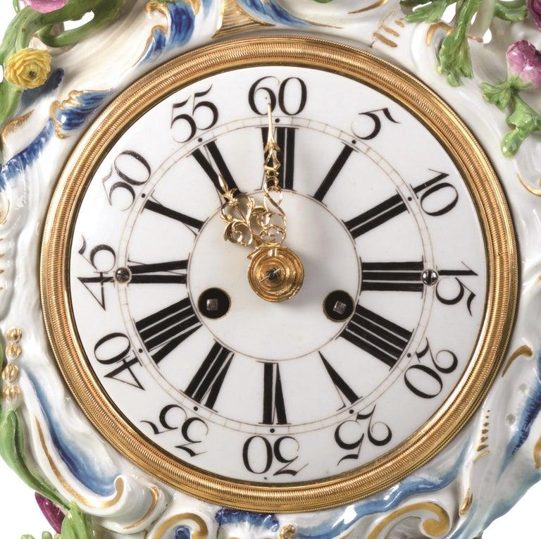 Rococo Mantel Clock Meissen Hard, Paste Porcelain, 1745-1755 For Sale