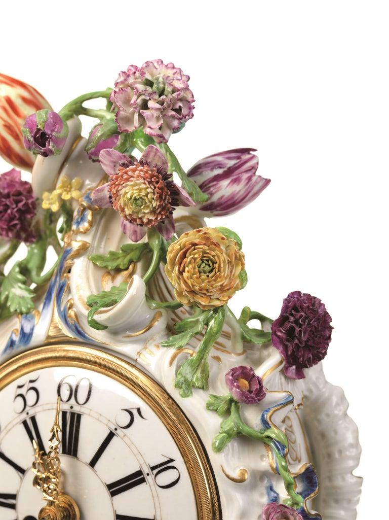 18th Century and Earlier Mantel Clock Meissen Hard, Paste Porcelain, 1745-1755 For Sale