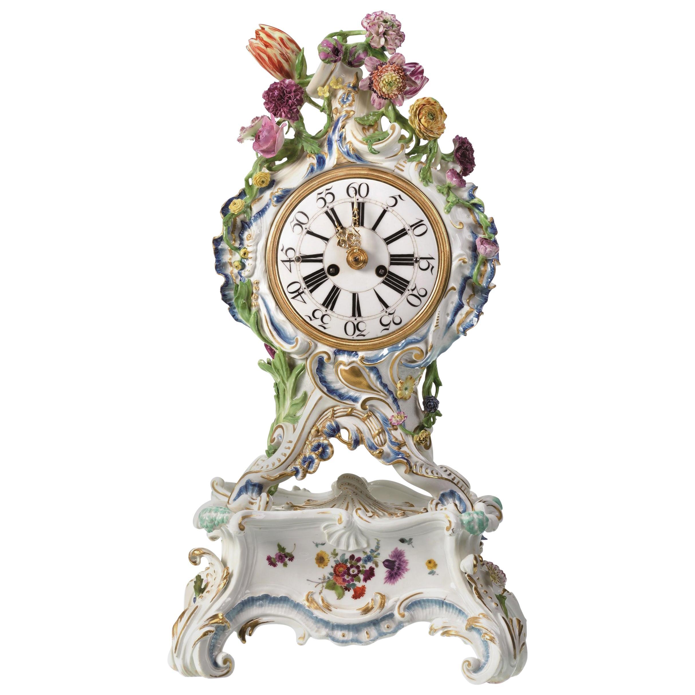 Mantel Clock Meissen Hard, Paste Porcelain, 1745-1755