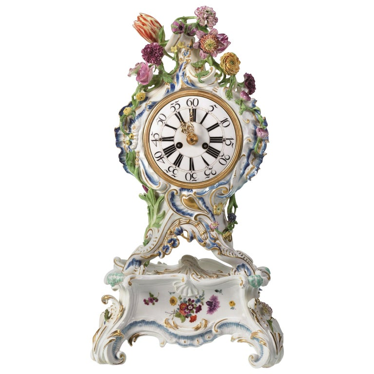 Mantel Clock Meissen Hard, Paste Porcelain, 1745-1755 For Sale